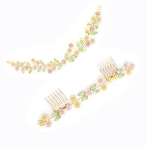 Neueste Hochzeit Blume Blätter Haar Reben und Haar Kamm für Braut Legierung Stirnband Tiara Krone für Frauen Haarschmuck JCG029