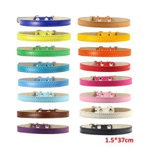 16 Cores para Escolher Couro Puro Pu Collar fot Pet Dog Cat Pet Suprimentos Ajustável Colarinho Macio S 1.5 * 37 cm