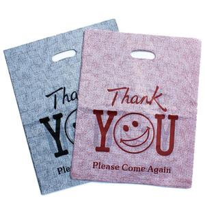 "200pcs / lot ""grazie"" Stampato Plastic Recycle Bag Shopping Bags Packaging mano portatile faccia Smiley Boutique regalo Carry Bag"