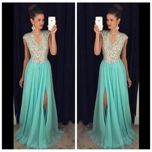 Sheer Crystal Beaded A-Line Prom Dresses 2018 Split Side Chiffon Gonna Occasioni speciali Abiti da festa Vendita a buon mercato Abiti De Soiree Personalizzato
