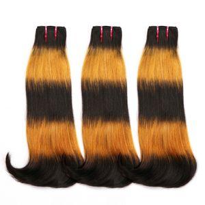 9A Sıcak Satış Yüksek Kalite Ombre Fox Renk İnsan Saç Brezilyalı Çift Drawn Fumi Saç Paketler Çift Curvy düz Drawn