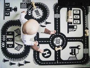 Ins Auto Speedway Castle Children North European Fashion Play Mat Baby Crawling Carpet Size 55 by 35inch