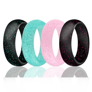 Starry Sky Silicone Lady Rings 5.7mm Wide Mix 4 Colors Shining Band Ring Fashion Jewelry For Women DC108-1