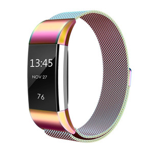 New Colorful Milanese Stainless Steel Watch Band Strap Bracelet For Fitbit Charge 2
