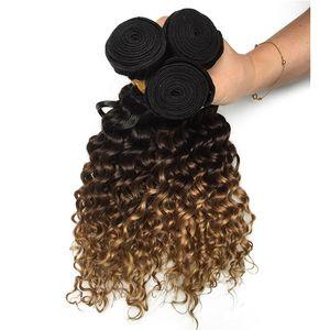 Fasci peruviani dell'onda profonda marrone scuro biondo dei capelli umani colorato 1B / 4/27 # tessuto dei capelli vergini all'ingrosso Ombre estensioni dei capelli umani