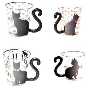 4pcs Assortimenti Mug Glass Creatif Cute Cat Mug