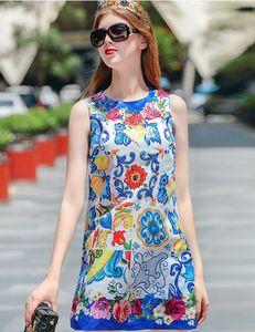 Runway de verano moda estampado floral 3D rebordear lentejuelas Sexy vestidos de lujo sin mangas nueva llegada venta al por mayor Womens Lady Casual Designer