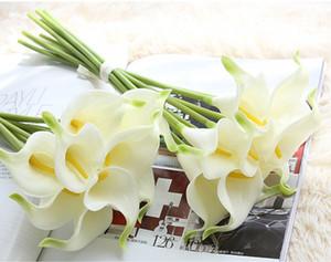 A buon mercato Artificiale PU Mini Bridal Flower Calla Bouquet Real Touch Fiori per la decorazione domestica Fiori decorativi da sposa 12 colori Opzione F169