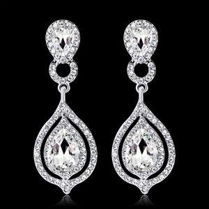Glänzende Art- und Weisekristalle Ohrring-Rhinestones-langer Tropfen-Ohrring für Frauen-Brautschmucksache-Hochzeitsgeschenk für Brautjungfern BW-010