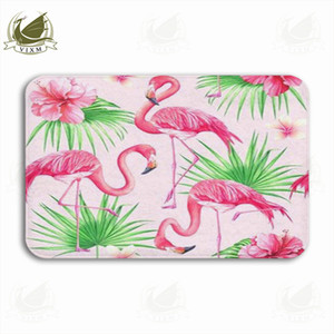 Vixm Flower Palm Leaves And Flamingo Tropical On Pink Background Welcome Door Mat Rugs Flannel Anti-slip Entrance Indoor Kitchen Bath Carpet