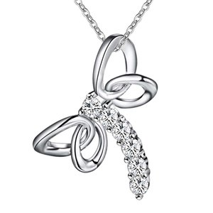 Wholesale Cute 925 Sterling Silver Plated dragonfly zircon pendant necklace Fashion Party Jewelry Christmas Gifts for Women Free Shipping