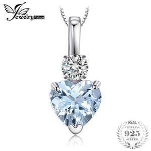 JewelryPalace Heart Love 0.8ct Natürlicher Aquamarin Weißer Topas Anhänger 925 Sterling Silber Halskette Edlen Schmuck 2018 Neues Design