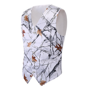 2018 Moda blanca Camo Boy Formal Wear Camuflaje Real Tree Chaleco de satén Venta barata Sólo chaleco para la boda Kids Boy Formal wear