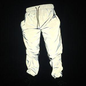 Free drop shipper Joggers hombres pantalones reflectantes hombres mujeres de hip hop bailan bailando luz nocturna brillante parpadeo pantalones largos