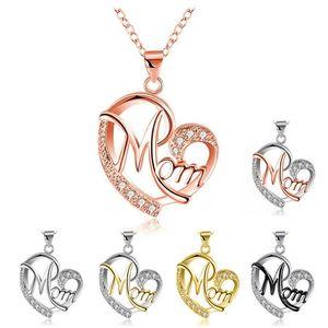 Cuore di cristallo di colore di contrasto mamma collana pendente diamante moda amore mamma gioielli mamma collane regalo della mamma