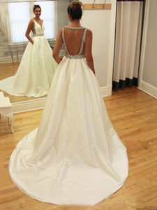 Свадебное платье A-Line Backless Матовая атласная свадебное Dressess сшитое свадебное платье Платье-де-Noiva