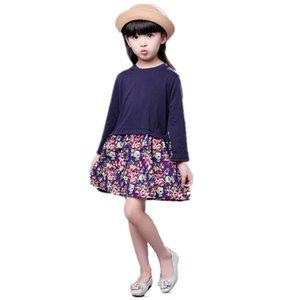 Vestidos de algodón para niñas Vestidos para niñas Vestido de princesa de manga larga Moda Otoño Invierno Vestidos de niños Ropa infantil Para 1-8Y