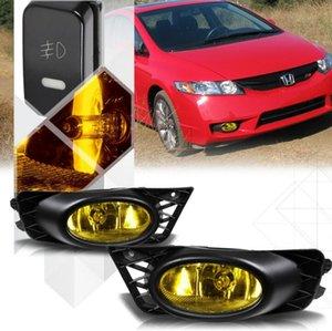 Sarı Sis Lambası Tampon Lambaları w / Switch + Demeti + Çerçeve Işıkları + Ampüller + Switch + 09-11 Honda Civic Sedan için Kablolama
