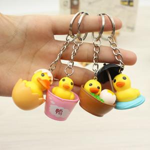 Novelty Cute Girls Duck Keychain Women Mini Animal Eggshell Duck Charm Key Ring On Bag Car Trinket Female Jewelry Wedding Party Friends Gift