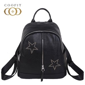 2018 Simple Mochila para mujer con estilo Rivet Stars Vertical Paern pequeña mochila para niñas adolescente casual negro Daypack Bagpack