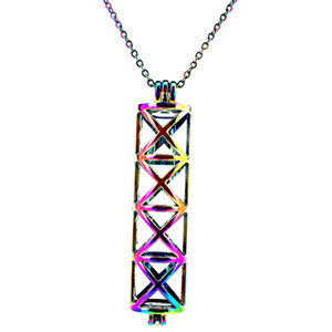 C175 Rainbow Color Long Cylinder Cross Beads Cage Pendant Essential Oil Diffuser Aromatherapy Pearl Cage Locket Pendant Necklace