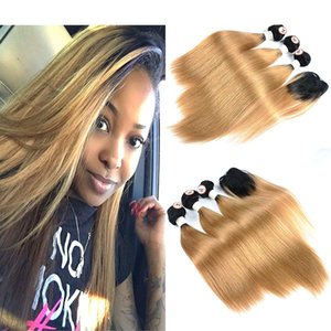 Ombre Honey Blonde Human Hair 3 Bundles With Top Closure Straight 1B / 27 Two Tone Dark Roots Дешевые цветные наращивания волос Non-Remy Hair
