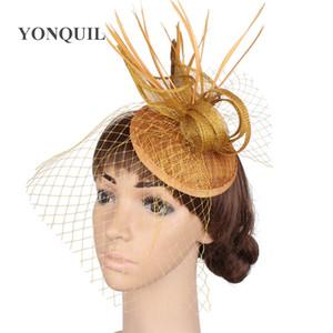 Mujeres encantadoras velos Fascinator Sombreros Cocktail Wedding Party Headwear Moda Headwear Fancy Pluma pelo Acce TYQ16001