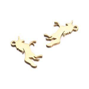 Toptan 12 * 20mm Gümüş Altın Paslanmaz Çelik Unicorn Kolye Küpe Kolye Bilezik At Aksesuarları DIY Yapımı Için