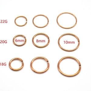 al por mayor de oro rosa anillo del aro de nariz falsa clip del oído de 22G 20G Calibre 18 8mm populares perforación del cuerpo joyería al por mayor del acero inoxidable 316L
