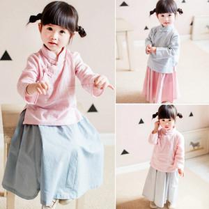 Новый Китайский Стиль Baby Girls Костюм Традиционный Ханфу Мандарин Воротник Тан Костюм Одежда Детская Косплей Производительности Одежда