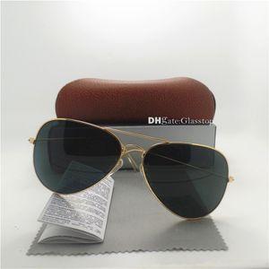 고품질 유리 렌즈 패션 남성 여성 브랜드 디자이너 선글라스 UV400 58mm 62mm 거울 유니섹스 파일럿 클래식 머큐리 거울 갈색 상자 뜨거운