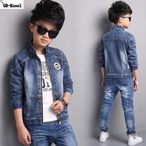 GB-Kcool Fashion Children's Denim Jackets 2017 Boys Jeans Outerwear Kids Cartoon Long Sleeve Tops Coats for Big Boys Students