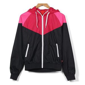Entwerfer-Frauen-Jacken-Windbreaker-Mantel-Reißverschluss-Hoodies rosa purpurrote Farben Patchwork-berühmte Druck-Oberbekleidung-Großverkauf