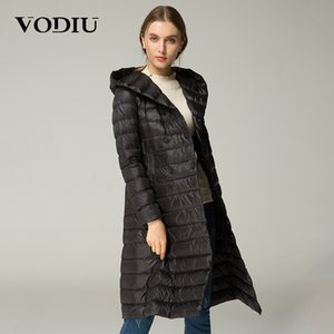 Vodiu Women Down Coat Thin Feather Parka Winter Long Down Giacche Donna Puffy Sashes Solid Hooded Slim Jacket Manica lunga Button