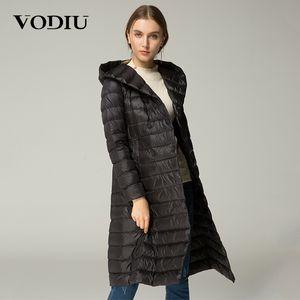 Vodiu Kadınlar Aşağı Ceket Ince Tüy Parka Kış Uzun Aşağı Ceketler Kadın Kabarık Sashes Katı Kapşonlu İnce Ceket Uzun Kollu Düğme