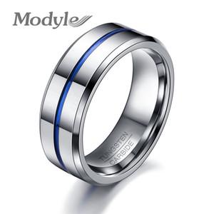 Modyle 2018 Mode Fine Ligne Bleue Tungstène Bague De Mariage Marque 8 MM Anneaux De Carbure De Tungstène pour Hommes Bijoux