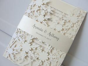Elegante Ivory Shimmy Snowflake Die Inviti di nozze Cut con cintura di compleanno Anniversary Party invita con stampa libera di trasporto