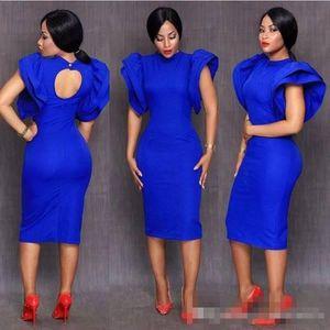 2018 New Tea Lunghezza Royal Blue Cocktail abiti Cap Sleeve Party Dress collo alto Design unico corto abiti da ballo