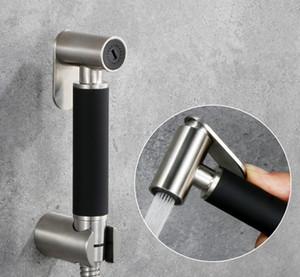 New Handheld Bidet Sprayer Spray WC Edelstahl 304 Gebürstetem Nickel Schwarz Finish + Bracket Schlauch Kein t-Adapter Set