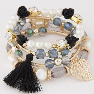 Boemia Branelli di cristallo Foglie Braccialetti con ciondoli Branelli con perle Bracciali multistrato Tendenza con ciondoli multicolore Braccialetti con tendenza per gioielli Regalo di Natale per le donne