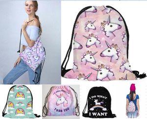 2018 nuovo arrivo 3D stampato unicorno Coulisse borse moda casual donne borse da viaggio per zaini scuola 3 pz /