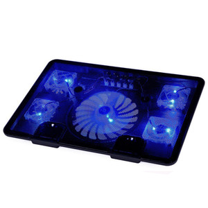 "Freeshipping Laptop Cooler Pad 14"" 15.6"" 17"" with 5 fans 2 USB Port slide-proof stand Cooler Notebook Cooling Fan with light"