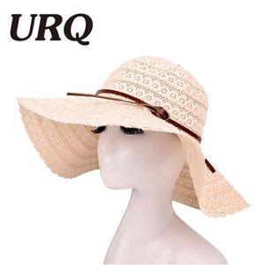 URQ Summer Sun Cappelli per le donne Lace Cotton morbido Big Fashion Design Women Beach Sun Hat Pieghevole cappello di paglia a tesa ZZ4069