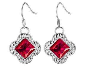 Pendientes plateados plata de la manera de las mujeres rojo azul verde pruple crystal Dangle Chandelier joyería de las mujeres encanto atractivo accesorio 1 par al por mayor