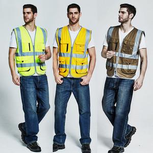 Hallo vis reflektierende Sicherheitsweste Weste Herren Kleidung Weste reflektierende mit Reißverschlusstaschen Bänder