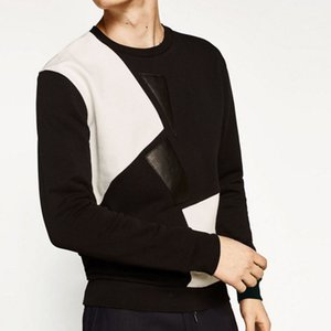 100% Cotton T Shirt Simple Men Hoodies Black White Patchwork Fashion Pullovers Long Sleeve O Neck Male Tees Tops