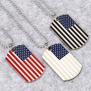 Hip Hop American National flag Pendentif Colliers Hommes s Square USA Militaire carte charme Chaîne de perles Pour les femmes Rapper Bijoux de mode