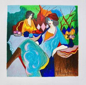 Itzchak Tarkay TEA TIME Lady Cafe Ritratti Arte, Dipinto a mano / Stampa HD Wall Art Pittura a olio su tela.Multi dimensioni personalizzate / Frame It82