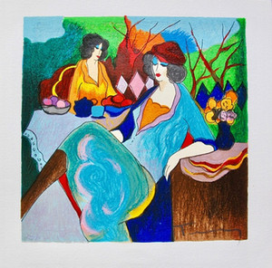 Itzchak Tarkay TEEZEIT Lady Cafe Portraits Kunst, handgemalt / HD Print Wall Art Ölgemälde auf Canvas.Multi benutzerdefinierte Größen / Frame It82