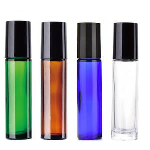 10 ML di rotolo vuoto su bottiglie di vetro con sfera metallica di migliore qualità ROLLER IN ACCIAIO INOX di 10 ml (1 / 3oz) bottiglia di rullo di vetro trasparente a colori